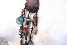 Artisan Necklace Stoneware Ceramic Braided Clay by greybirdstudio, £70.00