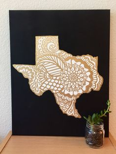 Gold Design Custom State Canvas Texas by CaliCanvas on Etsy