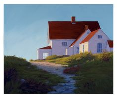 Lighthouse Keepers House at Sunset, oil on linen, 20″ x 24″