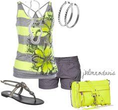 """Gray & Neon Yellow"" by jklmnodavis on Polyvore"