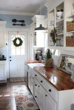 7 Proud Clever Tips: Oak Kitchen Remodel Tutorials kitchen remodel industrial woods.Kitchen Remodel Traditional Stove country kitchen remodel on a budget.Kitchen Remodel Must Haves Butcher Blocks. Farmhouse Kitchen Cabinets, Kitchen Redo, New Kitchen, Kitchen White, Farmhouse Kitchens, Rustic Cabinets, Kitchen Shelves, Wood Cabinets, Kitchen With Blue Walls