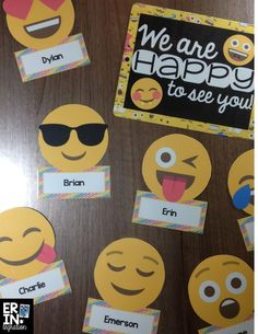 22 editable Emoji bulletin board accent pieces and signs. Makes great classroom door decor with personalized student names! 22 editable Emoji bulletin board accent pieces and signs. Makes great classroom door decor with personalized student names! Classroom Bulletin Boards, School Classroom, Back To School Bulletin Boards, Kindergarten Classroom, Kindergarten Name Tags, Bulletin Board Ideas For Teachers, Classroom Name Tags, Classroom Door Signs, Class Decoration