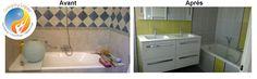 Photos avant / après d'un de mes chantier de rénovation de salle de bain dans l'Hérault.