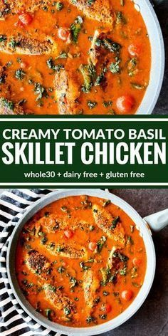 You're going to love this Creamy Tomato Basil Skillet Chicken! It's all about the sauce over perfectly sauteed chicken. Plus it's surprisingly dairy free, gluten free, and lentil soup recipe food network Creamy Tomato Basil Skillet Chicken Whole 30 Recipes, Paleo Whole 30, Whole 30 Soup, Whole 30 Chicken Recipes, Gluten Free Recipes, Healthy Recipes, Chicken Recipes Dairy Free, Dairy Free Dinners, Gluten Dairy Free
