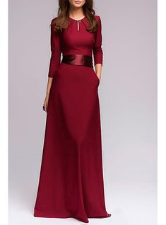 Maxi Dress - Three Quarter Length Sleeves / Wide Tied Waistline
