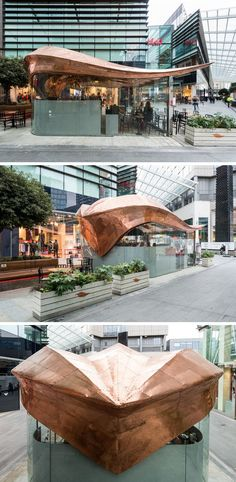 542 Copper Sections Were Used To Create The Curved Roof Of This London Cafe | CONTEMPORIST