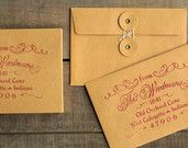 """Elegant return address stamp for wedding invites & save the dates. Prettier than handwritten. 1.5"""" x 2.5"""" with a wooden handle. Cosette. $25"""