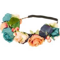 Peach and Teal Rose Flower Hair Crown ($15) ❤ liked on Polyvore featuring accessories and hair accessories