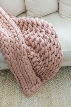 Merino wool Chunky Knit blanket in Blush Chunky Knit Throw, Chunky Blanket, Chunky Knits, Chunky Wool, Knitted Blankets, Merino Wool Blanket, Throw Blankets, Pink Blanket, Pink Room