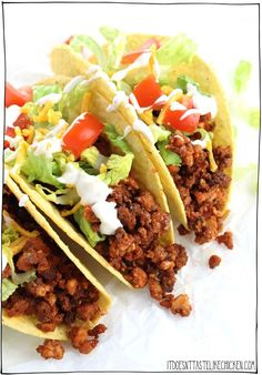 These Vegan Tofu Taco Crumbles are chewy and perfectly spiced. Layer on a taco (or burrito) with your favourite toppings for the ultimate vegan taco. These can be made ahead and reheated making dinner a breeze. Vegan Mexican Recipes, Tofu Recipes, Vegetarian Recipes, Cooking Recipes, Healthy Recipes, Spinach Recipes, Cooking Tips, Vegetarian Tacos, Vegetarian Lifestyle