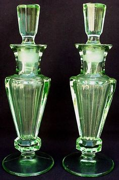 PR Antique Green Depression Glass Vanity Dresser ART Deco Perfume Scent Bottles | eBay