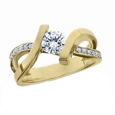 14k Yellow Gold Tension Set Ring Mounting with Diamonds