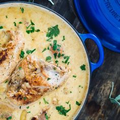 The best chicken I've ever had! Made with braised chicken, fingerling potatoes, and a creamy white wine sauce.