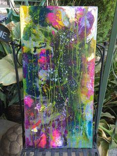Abstract Fluid Acrylic Painting OOAK Cavas by DoorInTheCeiling