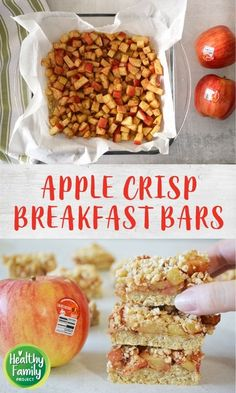 Take your breakfast on-the-go with these Apple Crisp Breakfast Bars. Just layer your ingredients and bake for a healthy, delicious way to start the day. Perfect for a make-ahead breakfast, grab and go snack or even as dessert! Recipe modifications included to make gluten-free, vegan or dairy-free. Breakfast Bars Healthy, Breakfast On The Go, Make Ahead Breakfast, Apple Crisp, Dairy Free, Gluten Free, Healthy Dessert Recipes, Kid Friendly Meals, Fruits And Veggies