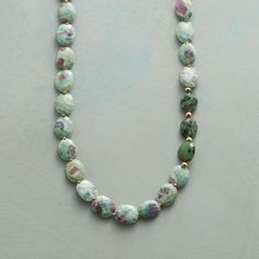 """FORTUITY NECKLACE--As luck would have it, spots of color spark ruby in fuchsite gemstones, the faceted ovals separated by golden beads in this eye-catching necklace. Handcrafted with 14kt gold filled chain and toggle clasp. Exclusive. 28""""L."""