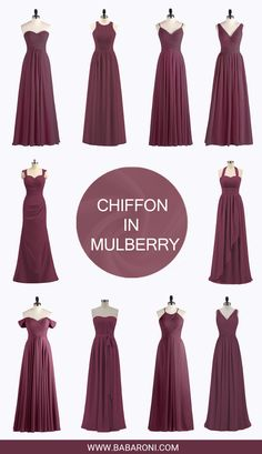 Bridesmaid dresses - The mulberry bridesmaid dresses are suitable for all kinds of occasions,and you will always look more elegant and dignified Babaroni com is sure the best place to buy different dresses bridesmaid b Bridesmaid Dresses Different Colors, Bridesmade Dresses, Burgundy Bridesmaid Dresses, Bridesmaid Dress Styles, Wedding Bridesmaids, Wedding Gowns, Wedding Entourage Dress, Entourage Gowns, Dresses Dresses