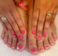 CND shellac with silver & glitter