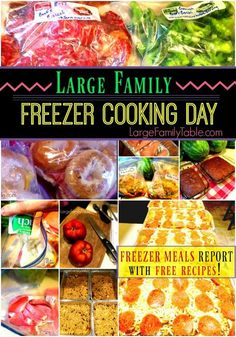 Here are the best large family freezer cooking days! I show you how to plan and cook up tons of freezer meals for your large family! Batch Cooking Freezer, Budget Freezer Meals, Slow Cooker Freezer Meals, Slow Cooker Chicken, Slow Cooker Recipes, Gourmet Recipes, Healthy Recipes, Meal Recipes, Freezer Food