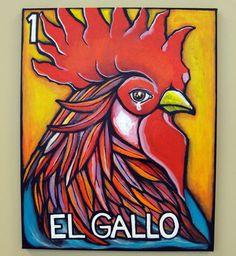 El Gallo  La Loteria Original Acrylic Painting by KarinaPrado