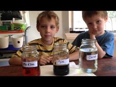 This momma wanted to teach her boys how the love of Christ can wash our sins away. So she got 3 masons jars and some household chemicals and did THIS! Wow This is truly powerful. And seeing those little boys share Christ's love like this healed my heart. Raise 'um up right!! (If you want to do this at home the 'Me and You' jar has tap water in it, the 'Sin' jar is iodine and water, and the 'Christ' jar is water and bleach.)