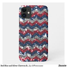Red Blue and Silver Chevron Bokeh Glitter iPhone 11 Case Silver Glitter, Blue And Silver, Red And Blue, Independence Day Holiday, Blue Polka Dots, Online Gifts, Dog Design, Bokeh, Iphone 11