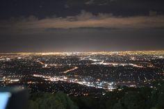 Lights of Melbourne from Mt Dandenong Ranges Lakeside Cottage, Ranges, Bed And Breakfast, Sunsets, Melbourne, Memories, Lights, Art, Memoirs