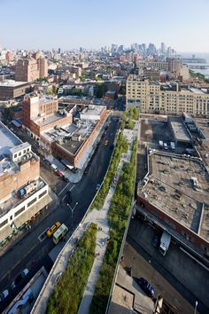 """The HighLine is a new 1.5-mile long public park built on an abandoned elevated railroadstretching from the Meatpacking District to the Hudson Rail Yards in Manhattan."""