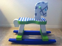 Chevron print rocking horse I painted for my baby!