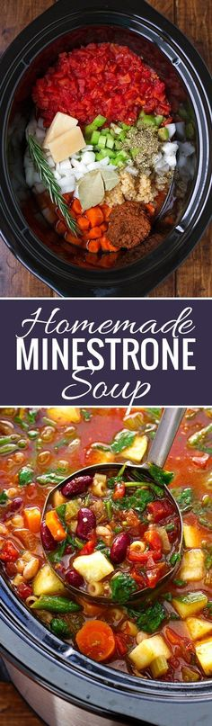 Soup (Slow Cooker) Homemade Minestrone Soup {Slow Cooker} made with a secret ingredient, this soup is perfect for chilly evenings!Homemade Minestrone Soup {Slow Cooker} made with a secret ingredient, this soup is perfect for chilly evenings! Crock Pot Recipes, Crock Pot Cooking, Cooking Recipes, Healthy Recipes, Vegetarian Cooking, Quick Recipes, Healthy Soup, Vegetarian Crockpot Recipes, Healthy Foods
