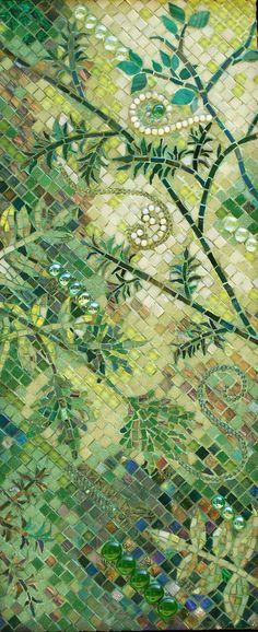 the mix of colors for a garden is great.  prior pin: It's Not Easy Bein' Green Mosaic ~ by Lee Ann Petropoulos