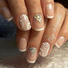 Glitter Nail Art, Gel Nail Art, Nail Manicure, Nail Swag, Fingernail Designs, Nail Art Designs, French Nails, Jasmine Nails, Bridal Nail Art