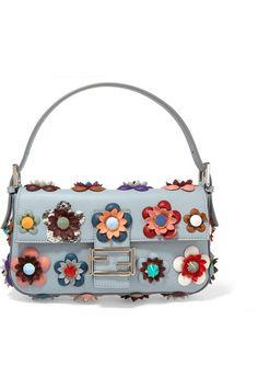 66ddf750b90 Fendi - Baguette floral-appliquéd leather shoulder bag