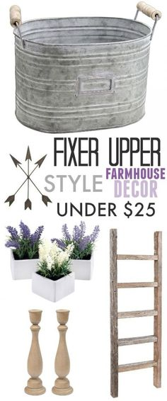 "Are you a fan of the show ""Fixer Upper""? Find out how you can celebrate the final season and bring some of that farmhouse style into your own home with these Fixer Upper style farmhouse decor ideas under $25!"