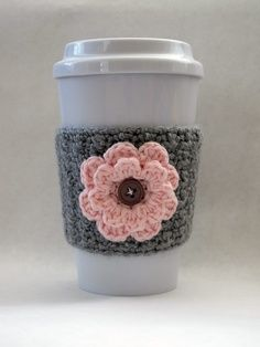 Gray and Pink Crochet Coffee Cup Flower Cozy