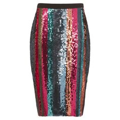 Tanya Taylor Samia Sequin-Striped Pencil Skirt ($525) ❤ liked on Polyvore featuring skirts, multi, pencil skirts, stripe pencil skirt, sequin stripe skirt, striped skirt and stripe skirt