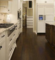 Dark floors, light cabinets