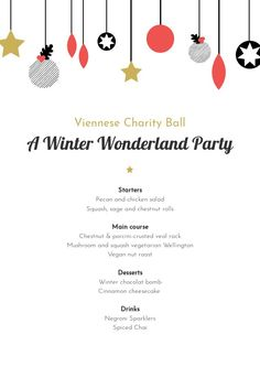 Hosting a charity event this holiday season? Here's a little gift from us here at Flipsnack: a festive illustrated Christmas Party menu template. Vegan Nut Roast, Free Menu Templates, Christmas Party Menu, Pizza Wedding, Cinnamon Cheesecake, Menu Layout, Winter Wonderland Party, Winter Desserts, Charity Event