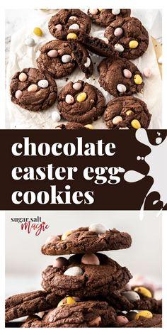 No Egg Cookies, Easter Cookies, Fun Cookies, How To Make Cookies, Sugar Cookies, Fudge Cookie Recipe, Easter Cookie Recipes, Easter Chocolate, Chocolate Desserts