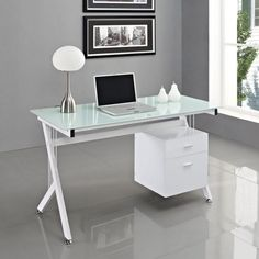 Nova Glass Corner Computer Desk