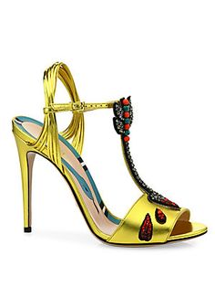 Gucci Allie Embellished Metallic Leather Sandals