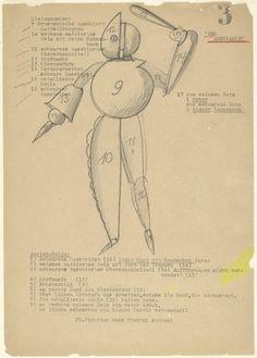 Oskar Schlemmer. Abstract Dancer (Der Abstrakte) from Notes and Sketches for the Triadic Ballet (Das triadische Ballett). (c. 1938)