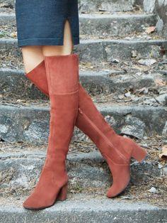 Over-the-knee block heel suede boots