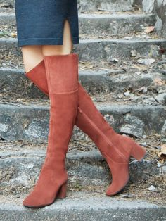 Rust suede over-the-knee boots with covered block heels