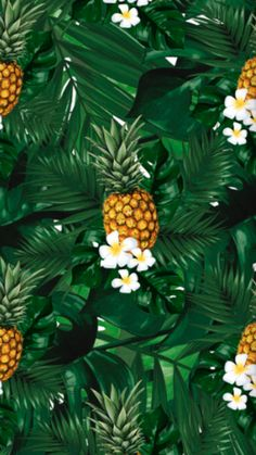 Tropical Leaves, Tropical Flowers, Swim Party Invitations, Pineapple Wallpaper, Pastel Palette, Pretty Patterns, Luau, Natural, Aesthetic Wallpapers