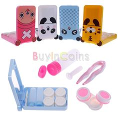 Lovely 2Pcs Cartoon Travel Contact Lens Case Kit Holder Mirror Box Container Holder -- BuyinCoins.com