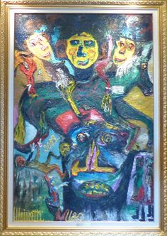 Eine Malerei des italienischen Art-Brut-Malers Ugo Mainetti, *1945, der ursprünglich Metzger war. Metzger, Art Brut, Girl Model, Painting, Studying, Pictures, Painting Art, Paintings, Painted Canvas