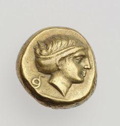 """1/6 stater - electrum - Mytilene, Lesbos (400-350 b.C.)- verso: profilo femminile vs.dx. con acconciatura raccolta nello """"sphendone"""" - Museum of Fine Arts, Boston"""