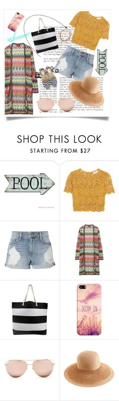 """Beach 2017 outfit #1"" by kawaii-02 ❤ liked on Polyvore featuring Miguelina, Frame, Missoni, Casetify, Linda Farrow and J.Crew"