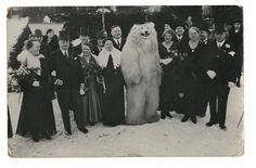 Photo from TeddyBär, a book of photographs from the 1920s through 1960s of Germans posed alongside people in polar bear costumes, collected by Jean-Marie Donat.